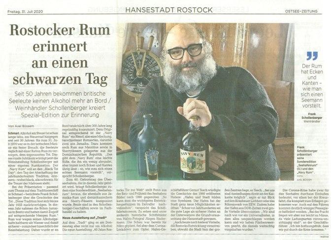Black Tot Day in der Ostseezeitung am 31.07.2020
